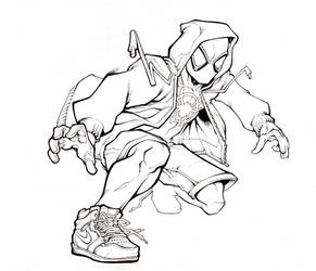 Miles into the spiderverse Linework by SlyAguilar