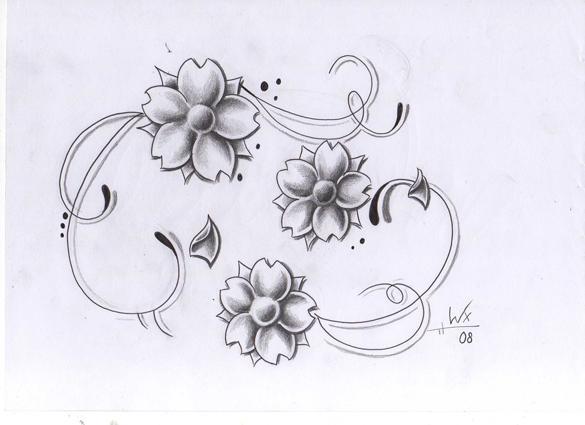 tattoo design flowers by willemxsm on deviantart. Black Bedroom Furniture Sets. Home Design Ideas