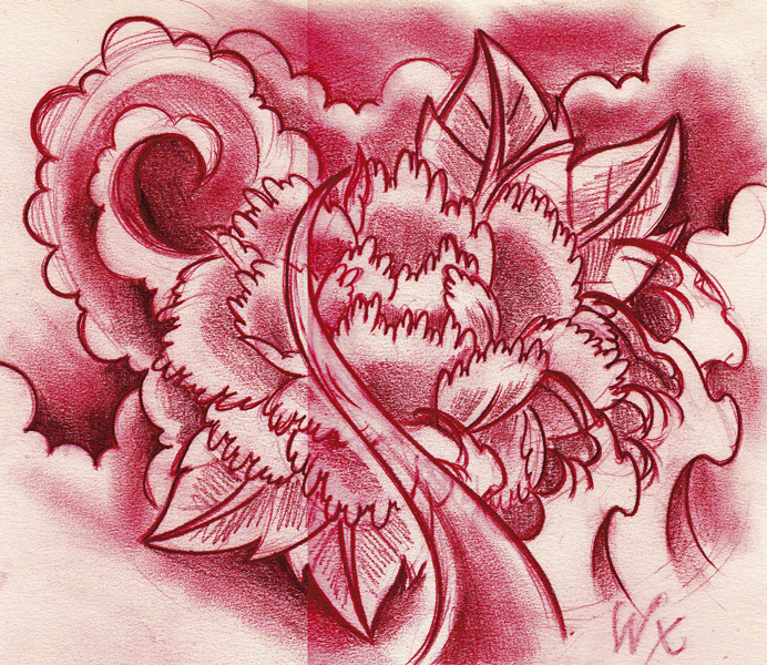 43 Japanese Peony Tattoos Collection: Peony Sketch By WillemXSM On DeviantArt