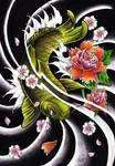 Custom tattoo koi fish design