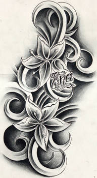 Custom flowers tattoo design