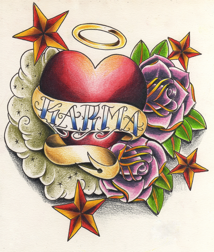 Karma Heart Tattoo Designs