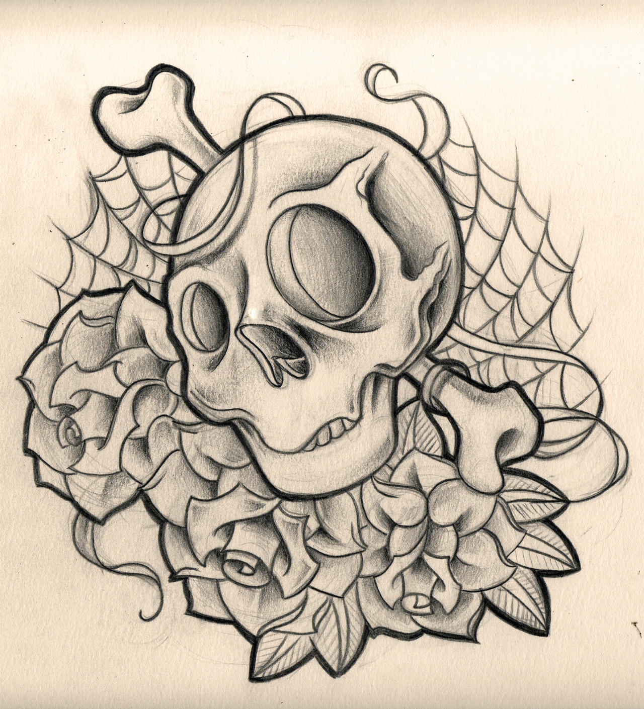skull and roses by WillemXSM