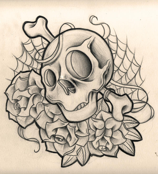 It's just an image of Gorgeous Rose And Skull Drawing