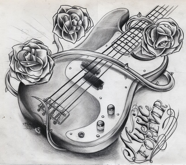 Cool Guitar Drawings Music Forever Bass By