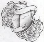 tattoo design new heart nroses