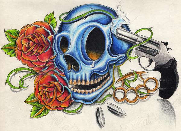 Skulls And Guns Tattoos