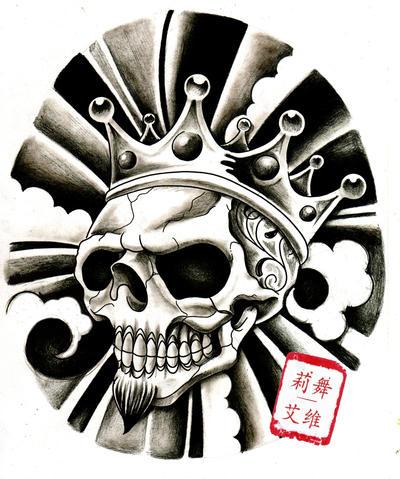 king skull black n grey by willemxsm on deviantart. Black Bedroom Furniture Sets. Home Design Ideas