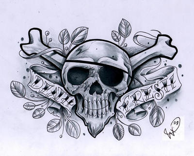 Flaming Skull Tattoo Design Death Fresh skull design by *WillemXSM on