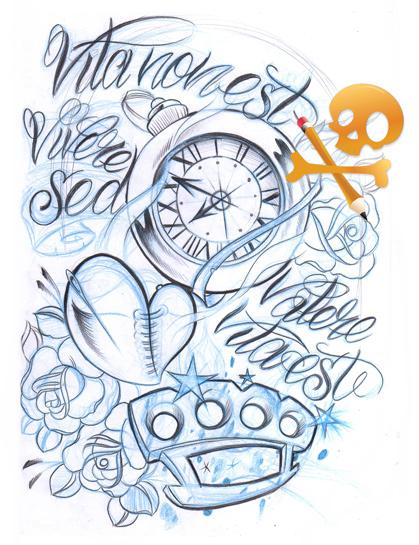 Sketch clock n brass knuckle by WillemXSM on DeviantArt