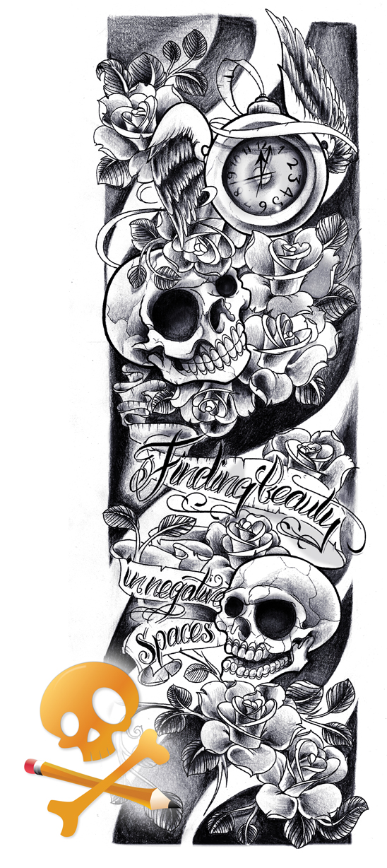 Commission - Skulls sleeve by WillemXSM