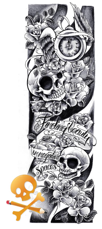 Commission - Skulls sleeve by WillemXSM on DeviantArt
