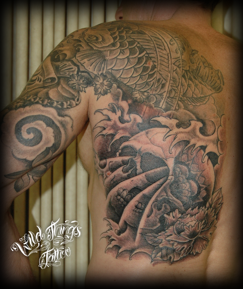 Back Piece Japanese Koi Fish Tattoo Picture 4