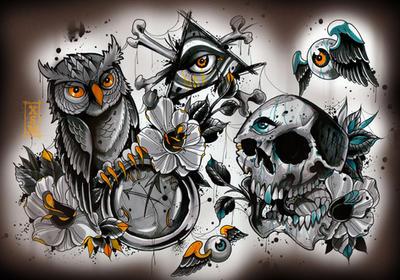 Популярные татуировки Олдскул