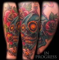 In progress skullroseeyeballcolors by WillemXSM