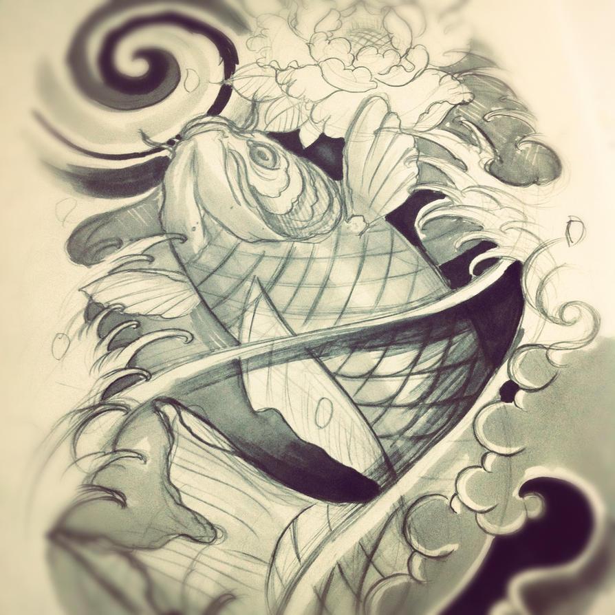 Koi fish leg sleeve sketch by WillemXSM