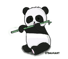 PANDA-Eating a Bamboo(Transparent) by otaku4art