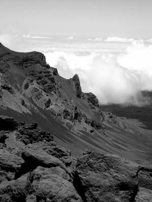 Mount Haleakala Ridge (Black and White)