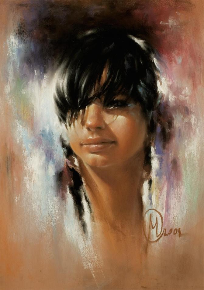 Agnes pastel portrait by pustelnik