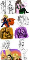 Thor and Loki sketchdump by Valentine-tQoB