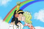 Over the Rainbow: Ozma and Dorothy's Kiss by Rex-Shadao