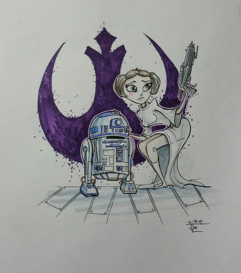 Leia and R2 by bluespottedfrog