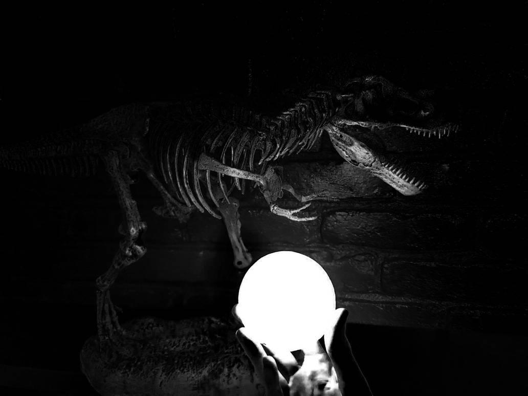 Noir T-rex Moon by Fiction-Art-Author