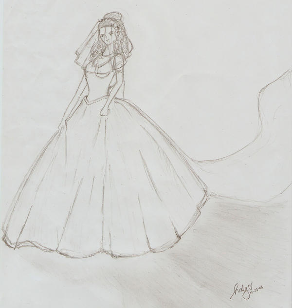 Wedding dress pencil drawing by candicewillow
