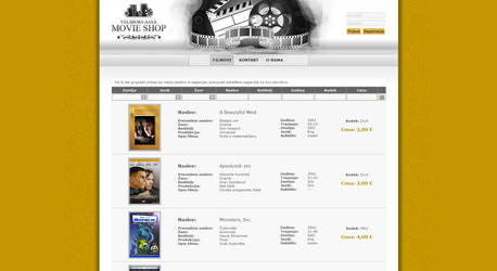 MovieShop web site design