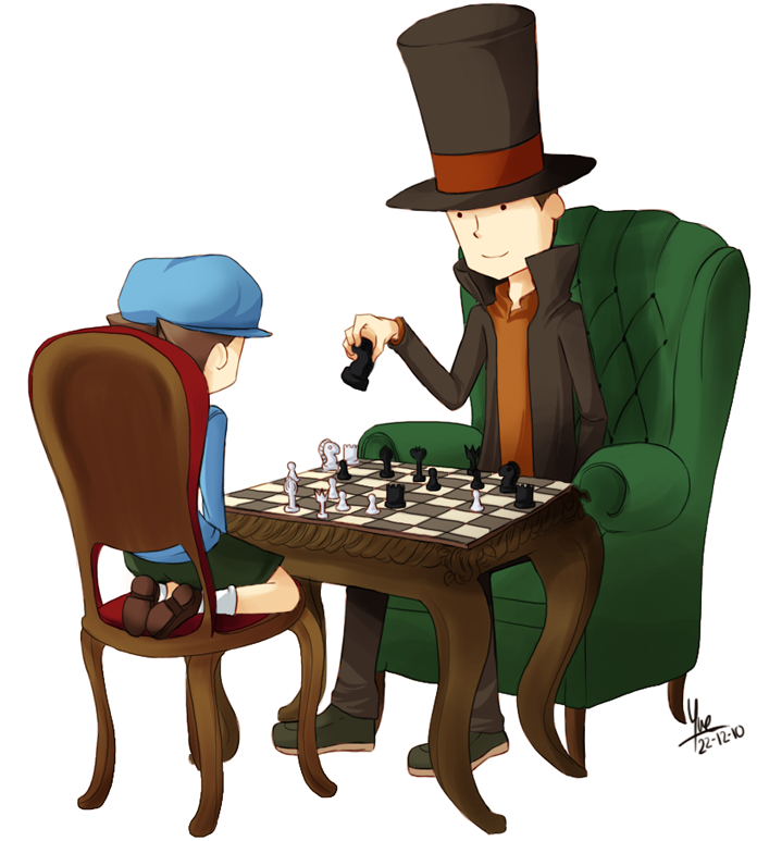 the Professor Layton and Chess by mayumi-yue