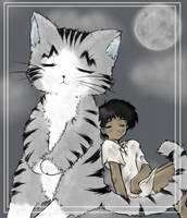 Just a Boy and His Giant Cat by hitokui