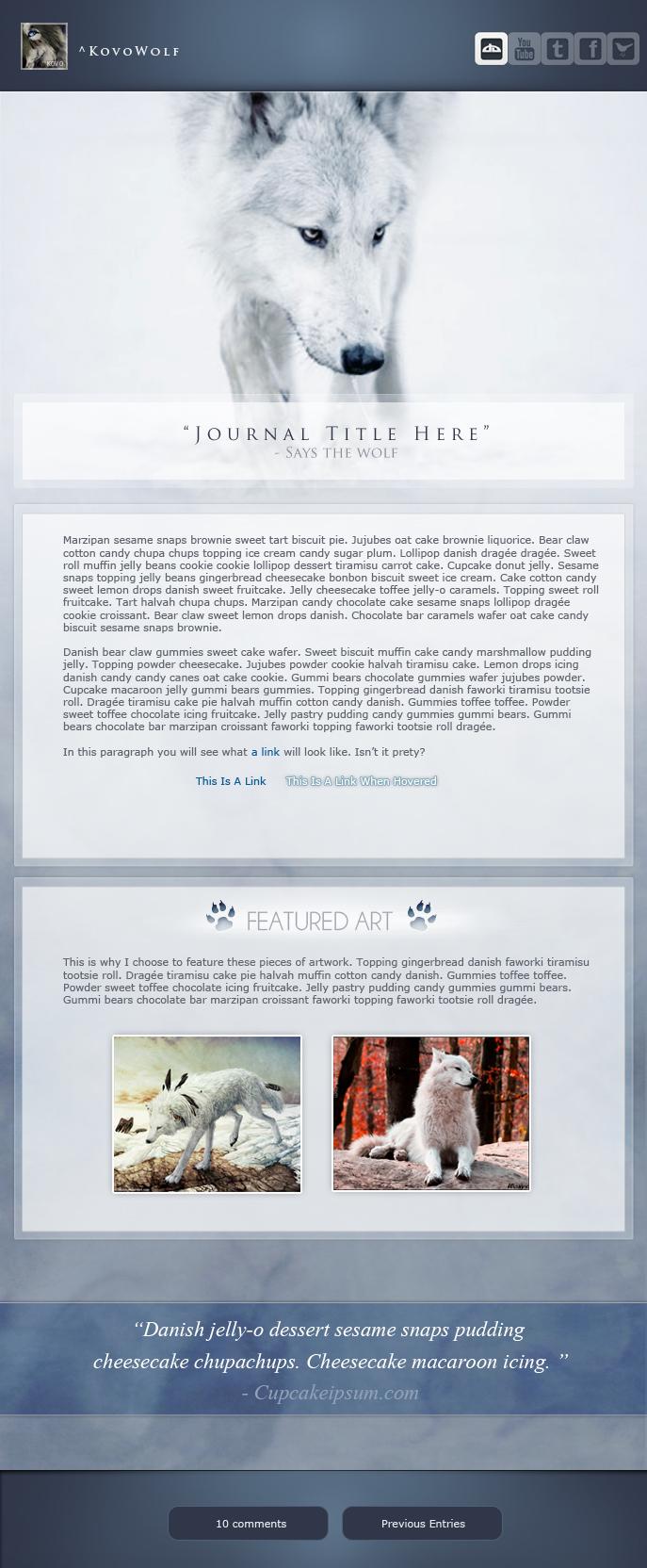 Ivory Wolf - Journal Design by KovoWolf