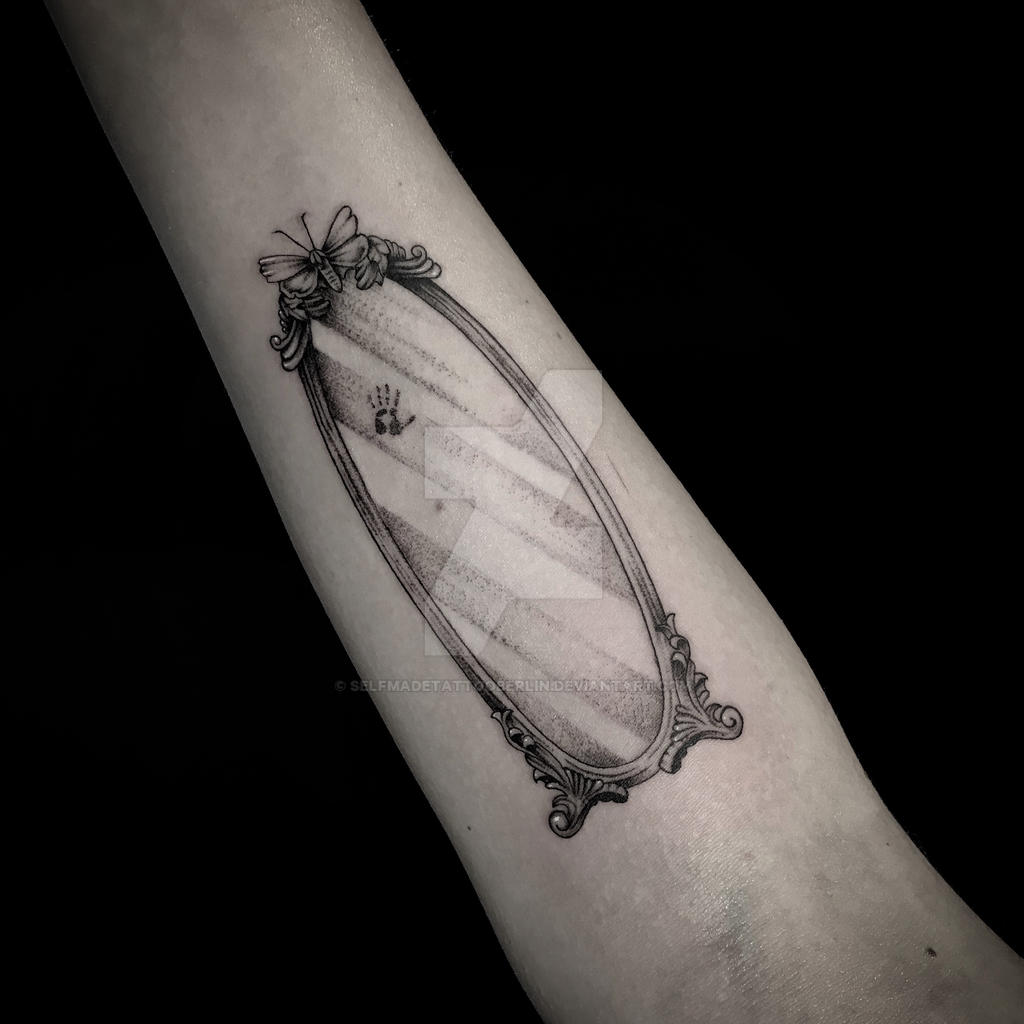 Fineline mirror tattoo by SelfmadeTattooBerlin