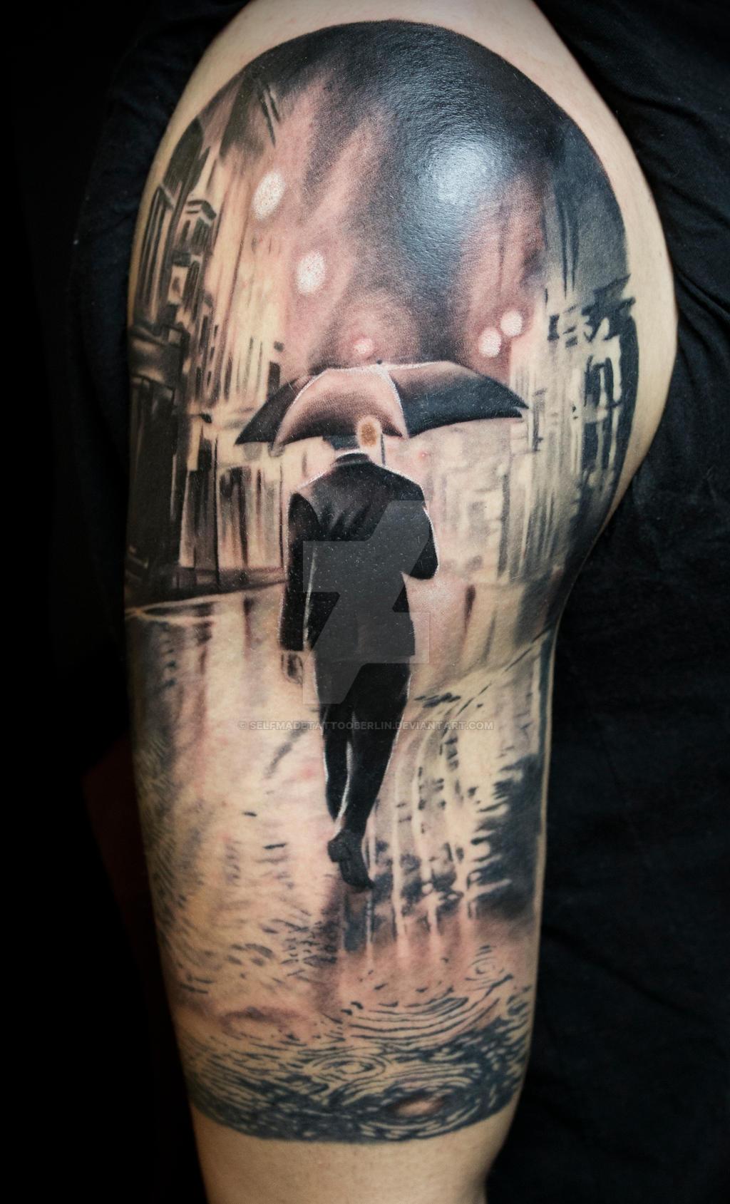 Singing in the rain tattoo by SelfmadeTattooBerlin