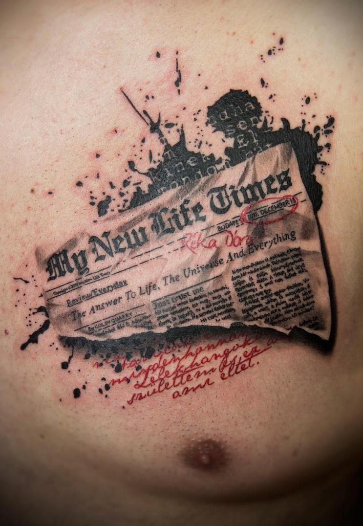 Trash Polka newspaper tattoo by SelfmadeTattooBerlin