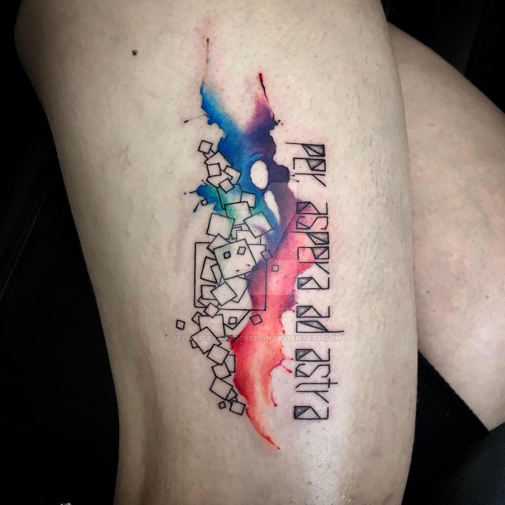 geometric watercolor tattoo by SelfmadeTattooBerlin