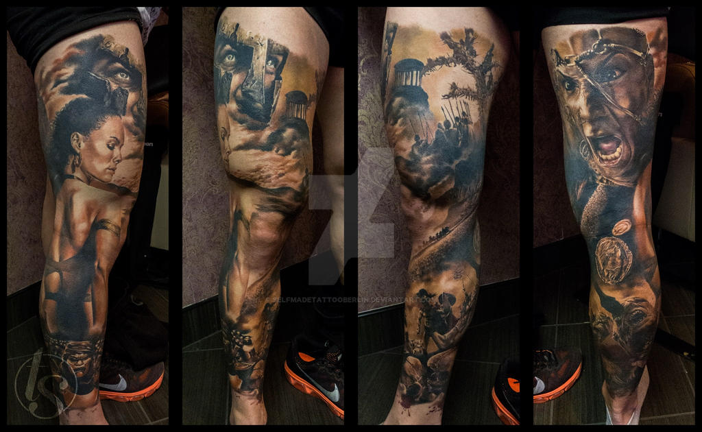 300 themed leg tattoo sleeve by SelfmadeTattooBerlin