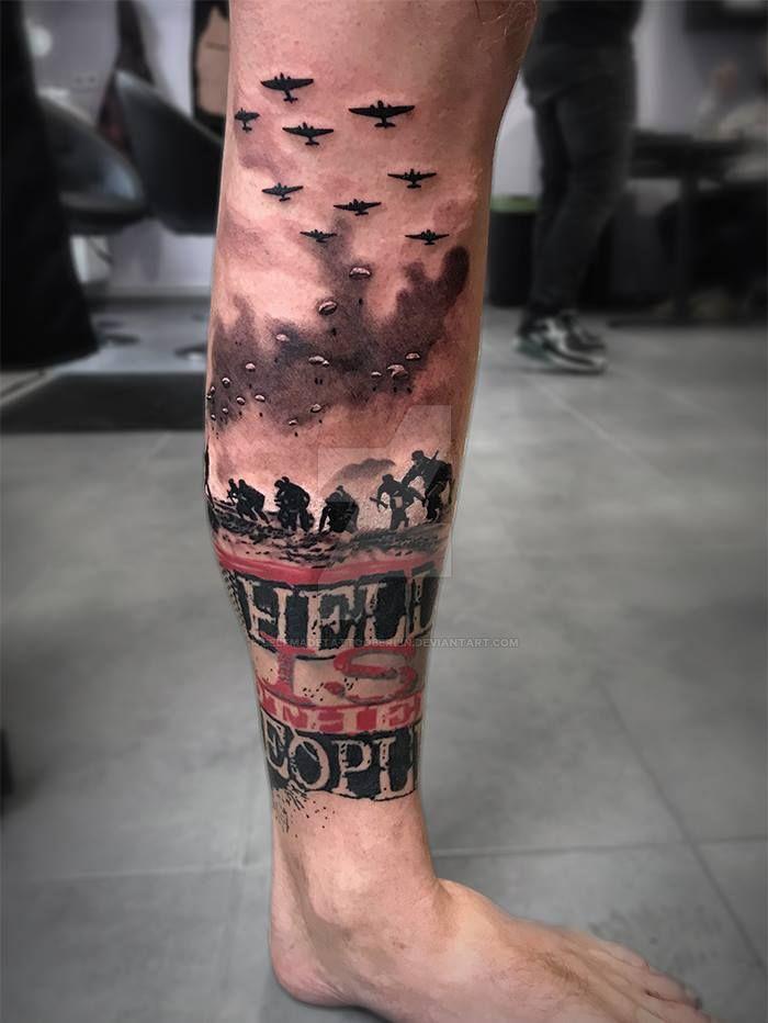 Trash polka war scene tattoo by SelfmadeTattooBerlin