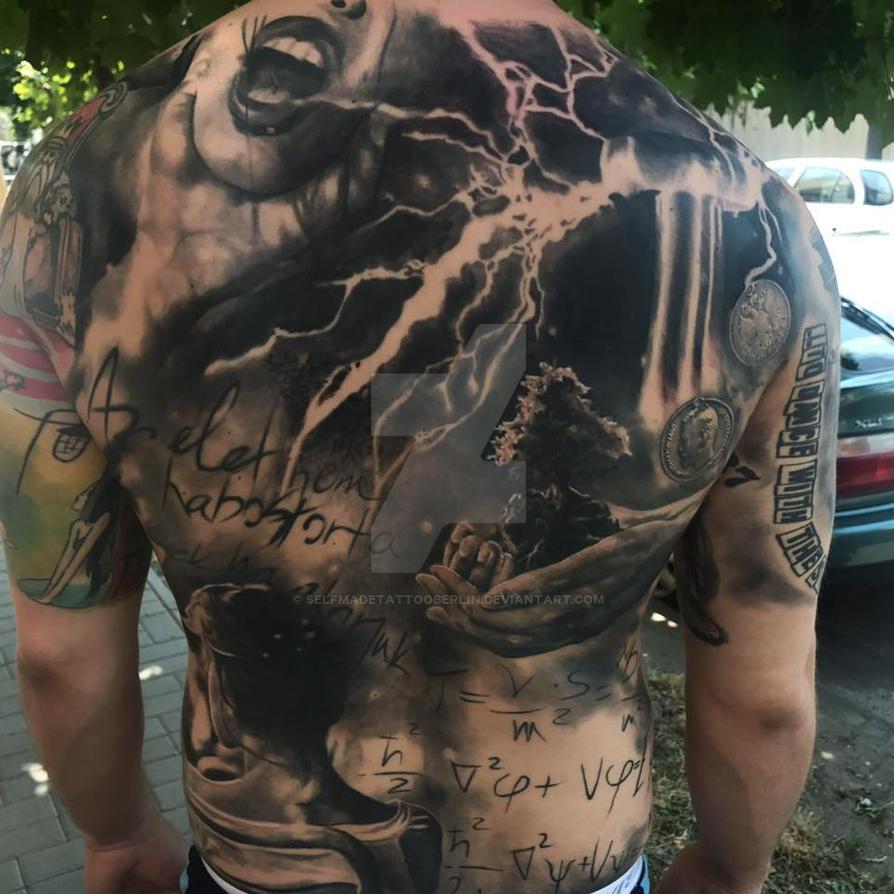 Dark themed spooky full back piece tattoo by SelfmadeTattooBerlin