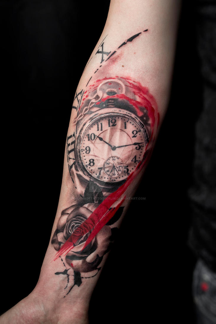 Trash polka pocketwatch tattoo by SelfmadeTattooBerlin
