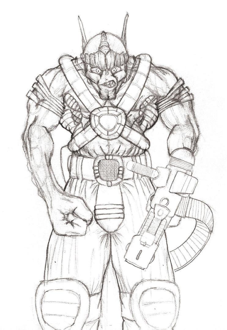 Alien Head Drawing Alien Soldier by Goat Head