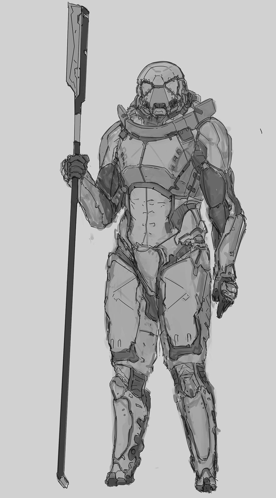 Pole arm trooper sketch sketch by Kwibl
