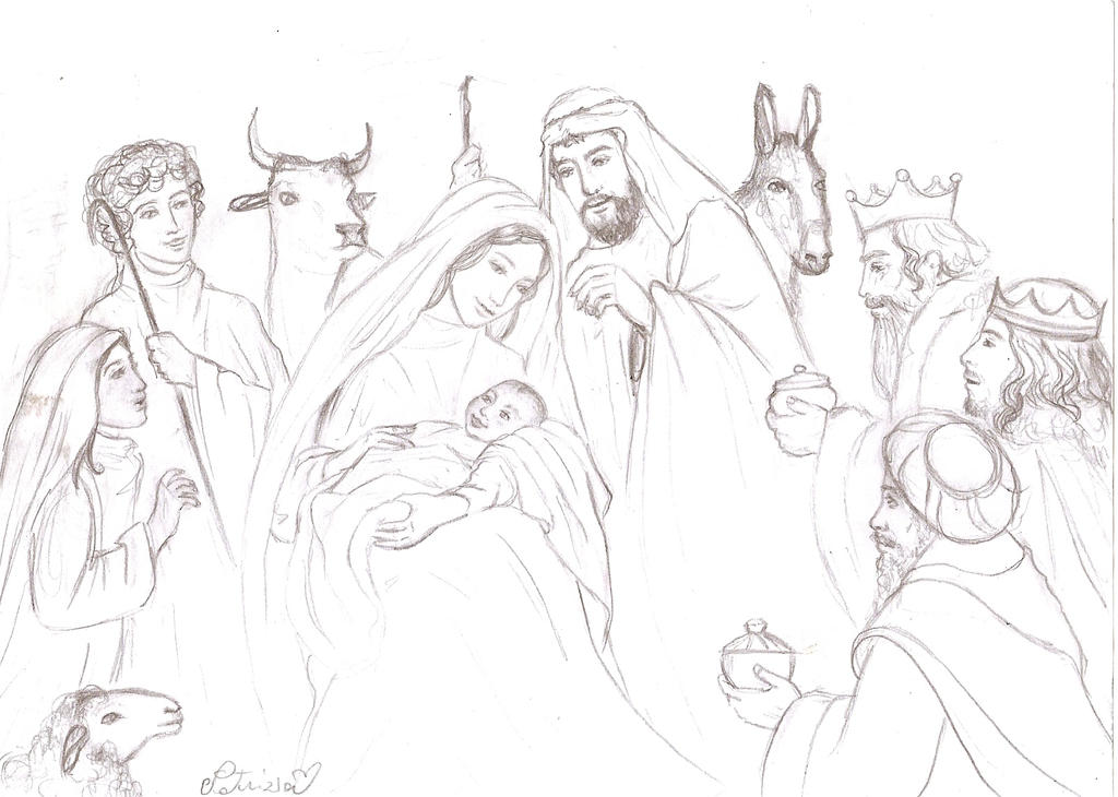 Line Drawing Nativity : The nativity sketch by dreamynaria on deviantart
