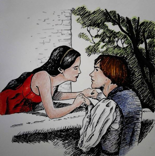 Romeo and Juliet (ink) by DreamyNaria