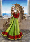 Young woman with unicorn