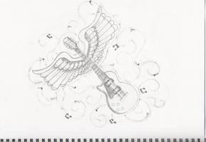 Guitar Tattoo Design by she-sins