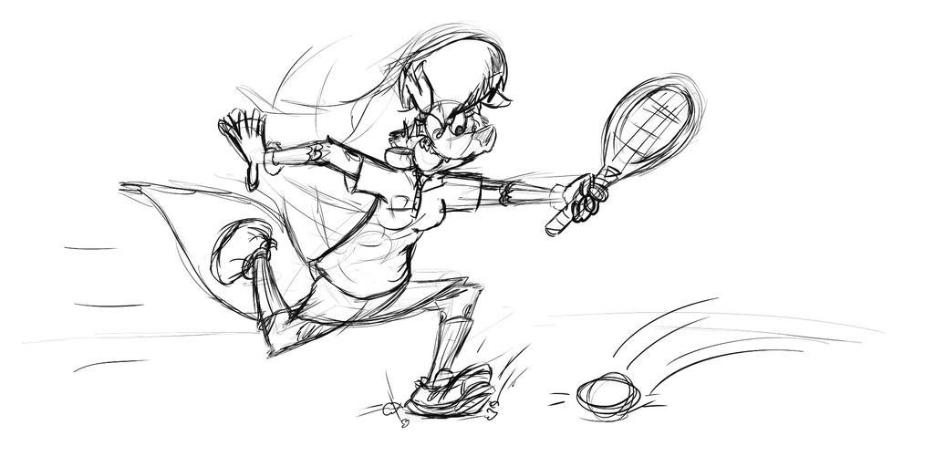 Inktober2017, Daphne Playing Tennis by Jamesaragonastudios