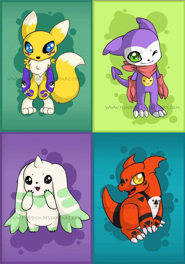 Digimon Tamers Chibi set by Fi3ndish