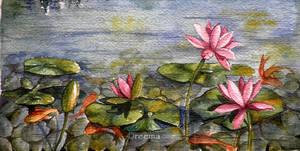 Lotus and Koi