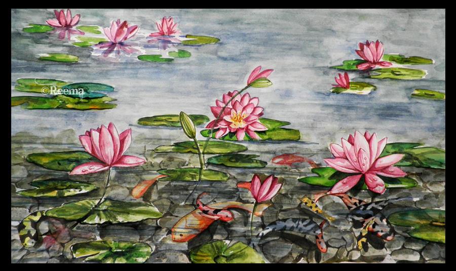 Lotus koi pond by shirly90 on deviantart for Koi fish pond lotus